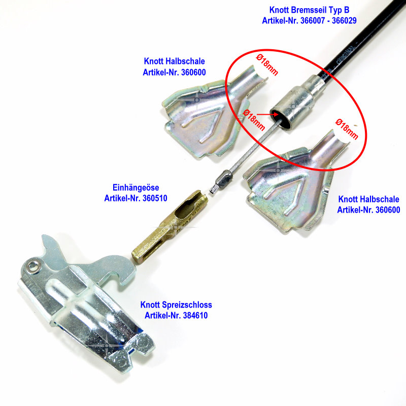 2 x Knott Bremsseil 33921-1.32 HL:2130 mm Anhänger Seilzug Bremse GL:2340 mm